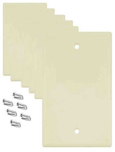 SleekLighting Pack of 6 Ivory Plastic Wallplates Standard size 1 Gang Blank