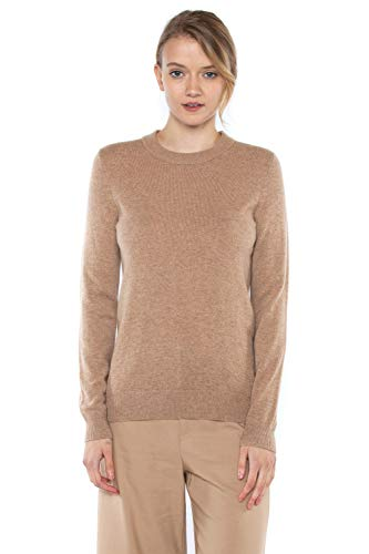 Sweater Camel Cashmere Crewneck - JENNIE LIU Women's 100% Pure Cashmere Long Sleeve Crew Neck Sweater (L, Camel£