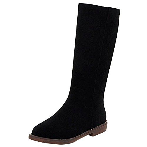 Mid Western Size Flat 43 Women's COOLCEPT Boots Calf Black Fashion EU31 qCpwxtxX0