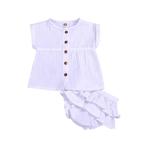 WOCACHI Baby Newborn Girls Boy Solid Sleeveless Vest Tops +Ruffle PP Shorts Outfits Set Back to School Father's Day Children's Day July 4th Pregnant Woman Mini Boss