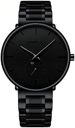 Mens Watches Ultra-Thin Minimalist Waterproof-Fashion Wrist Watch for Men Unisex Dress with Stainless Steel Band-Black Hands