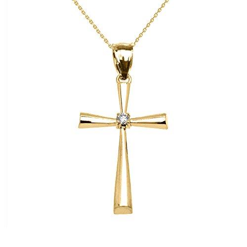 Elegant Diamond Cross Pendant - 14k Yellow Gold Solitaire Diamond Cross Elegant Pendant Necklace, 20