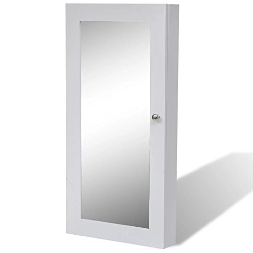 vidaXL White Mirrored Jewelry Cabinet Armoire Mirror Organizer Wall Mount Storage Case by vidaXL