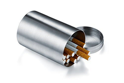 Vanlemn Cylindrical Cigarette Case Stainless Steel Cigarette Holder 50 Cigarettes Capacity Storage Box Without Cigarettes