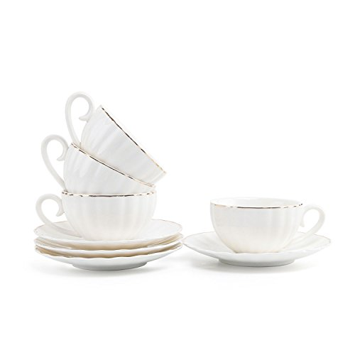 Safe Saucers Cups Oven (T4U 7.5OZ Porcelain Coffee Cup with Saucer Set of 4, White with Golden Trim British Royal Style Cappuccino Latte Tea Cup with Saucer Set)