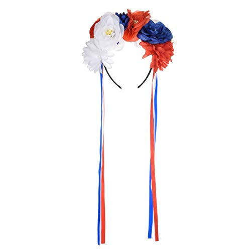 Floral Fall Day of The Dead Flower Crown Festival Headband Rose Mexican Floral Headpiece HC-23 (A-Red Blue White)