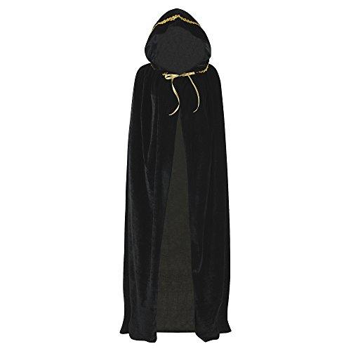 Unisex Full Length Hooded Robe Cloak Long Velvet Cape Cosplay Costume 59