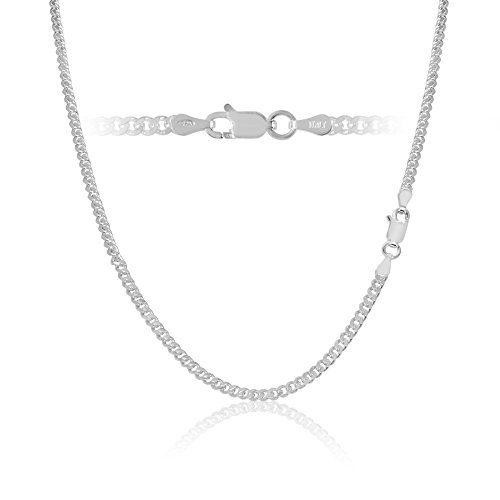 Sterling Silver Cuban Curb Link Chain Necklace Italy 3mm 22 (Womens Chain Link)