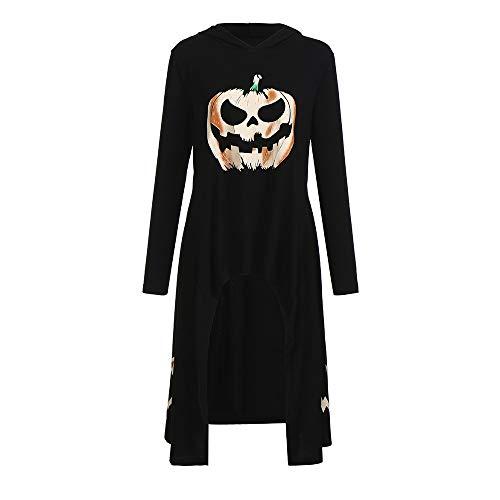 iDWZA Women's Halloween High Low Irregular Hem Hooded Pumpkin Print Party Dress(XL,Black) -