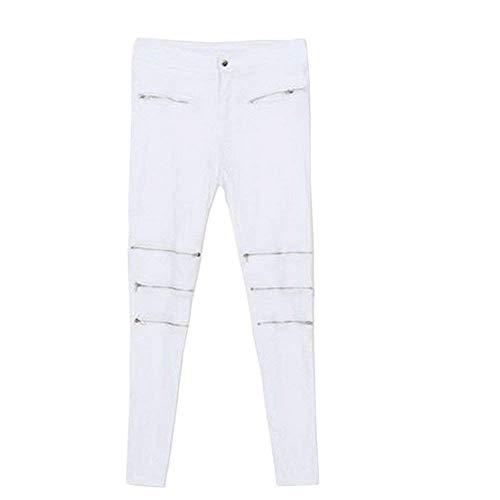 Mujeres Patchwork Casuales Para Moda Blanco Mujer Mezclilla Pants Holes Cher Lápiz Vaqueros Slim Fit De Ocio Estiramiento Pantalones Ripped Con Skinny w0qFvn
