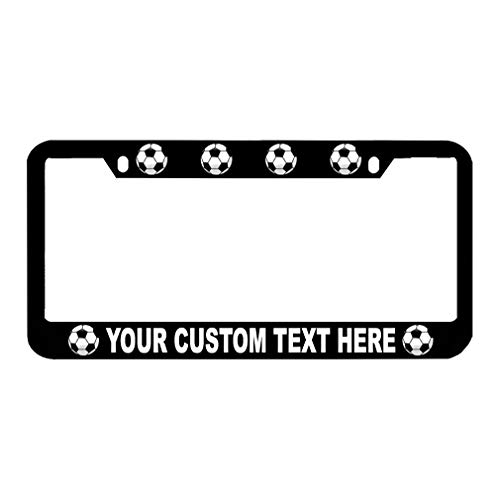 (Speedy Pros Custom Text Personlized Sport Soccer Ball Zinc Metal License Plate Frame Car Auto Tag Holder - Black 2 Holes)