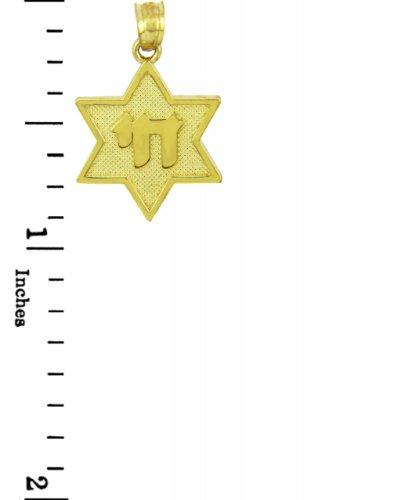 10 ct 471/1000 Charme Juive - etoile de David Avec Chai Or Jaune Pendentif
