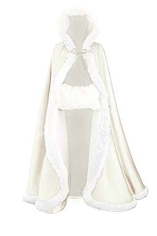 BEAUTELICATE Women's Bridal Cape Wedding Cloak With Fur Floor-length (Circles Ivory)