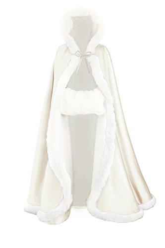 - Wedding Cape Hooded Cloak for Bride Winter Reversible with Fur Trim Free Hand Muff Full Length 50''