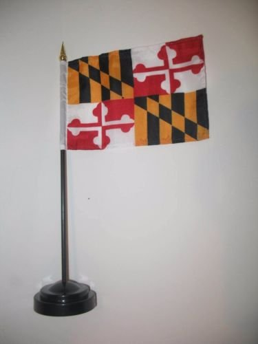Maryland State Flag 4''x6'' Desk Set Table Stick Black Base BEST Garden Outdor Decor polyester material FLAG PREMIUM Vivid Color and UV Fade Resistant by Moon