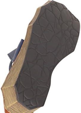 Vogstyle Femme Sandales Plate Forme en Cuir ornées avec