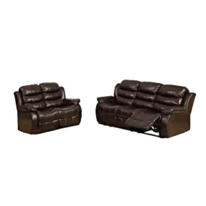 Furniture of America Chellemont 2-Piece Leather-Like Fabric Recliner Sofa and Loveseat Set, Dark Brown Finish