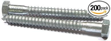 Steel Carton Hex Head 200 Pc Zinc 1//2 X 1 3//4 Lag Screws