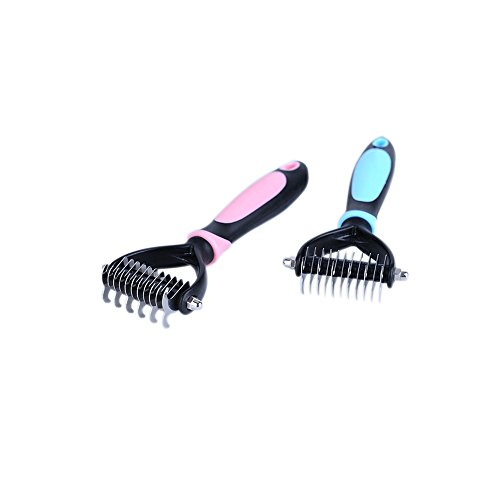 MEEOW Pet Cat Dog Comb Pet Beauty Hair Removal Comb Silicone Stainless Steel Blue Open Knot Hair Removal Beauty Massage Pet Supplies