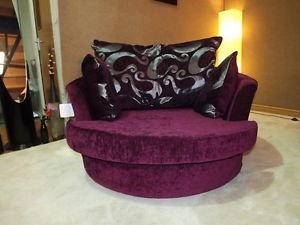 Online Sofa Wholesale Dylan Zina Purple Chenille Cuddle Swivel Chair (Large)