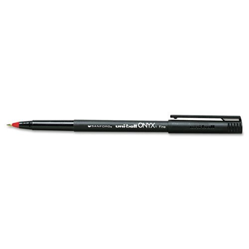 (uni-ball Products - uni-ball - Onyx Roller Ball Stick Dye-Based Pen, Red Ink, Fine, Dozen - Sold As 1 Dozen - Precision tungsten ball. - Excellent for carbons and multi-part)