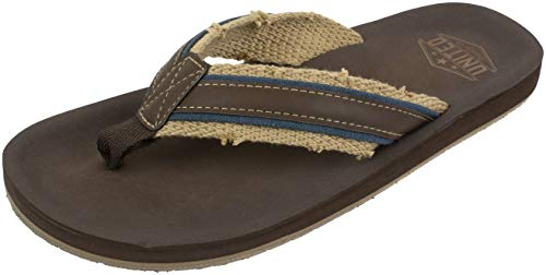 (UNITED SUPPLY CO. Men's Flip Flop Sandal, Classic Casual and Comfortable, Arch Support, Frayed Webbing, Brown Navy, Size Large / 10 to 11)