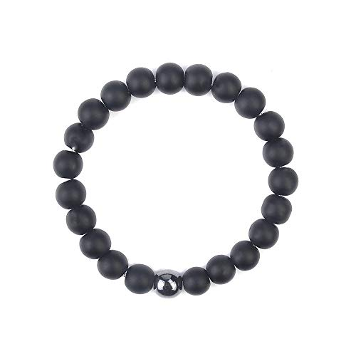 - Beaded Bracelet for Men Women Onyx Matte Agate Stone Lucky Bracelet Him Jewelry