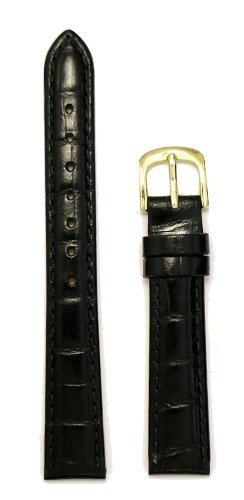 Grain Ladies Watch Band (Ladies Alligator Grain Leather Watchband Black 13mm Watch Band - by JP Leatherworks)