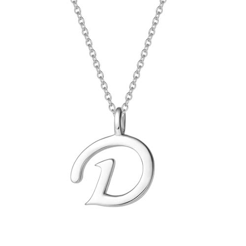 FANCIME Sterling Silver Gold Plated Initial Necklace High Polish Monogram Letter Initial D Pendant Necklace Fine Jewelry for Women Girls 16