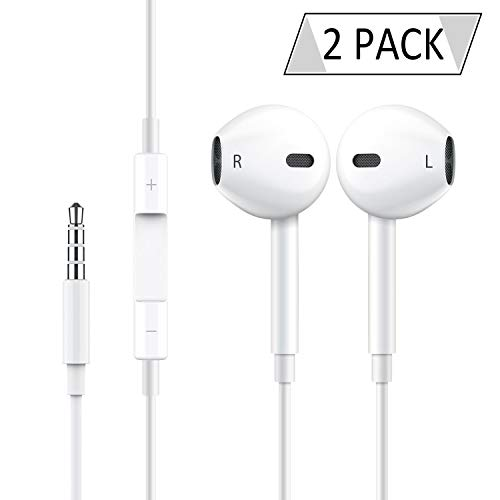 2 Pack Earphones Headphones Earbuds Headset to 3.5mm Stereo Earphone Wired Noise Isolating with Mic and Remote Control Compatible with iPhone iPad iPod Tablet Laptop [White]