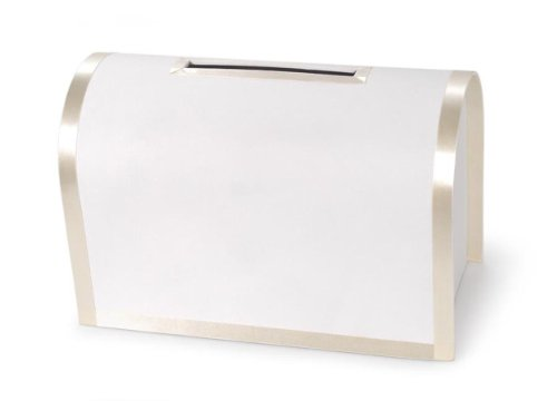 Darice VL0038AIV, Round Card Box with Bottom Door, Ivory Ribbon Trim