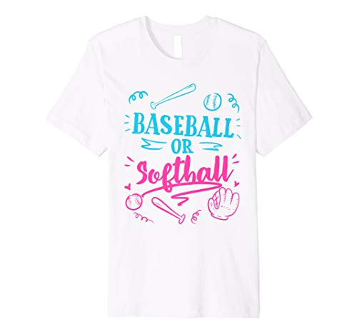 Gender Reveal Party Mom Dad Gift Baseball Softball Gift Premium T-Shirt
