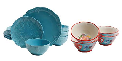 - The Pioneer Woman Farmhouse Lace 12-Piece Dinnerware Set in Light Blue with 6.75-Inch Bowls Set of 4