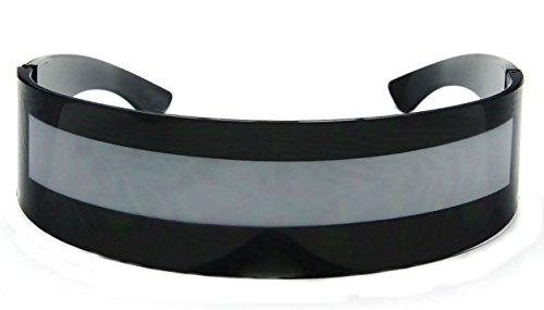 WebDeals - Futuristic Wrap Around Monoblock Cyclops Shield Sunglasses (Black - Sunglasses Alien Shades
