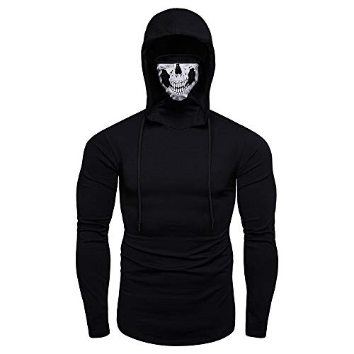 Hoodies for Mens, FORUU Clover Sales 2019 Under 10 Best Gift for Boyfriend Mask Skull Pure Color Pullover Long Sleeve Hooded Sweatshirt Tops Blouse