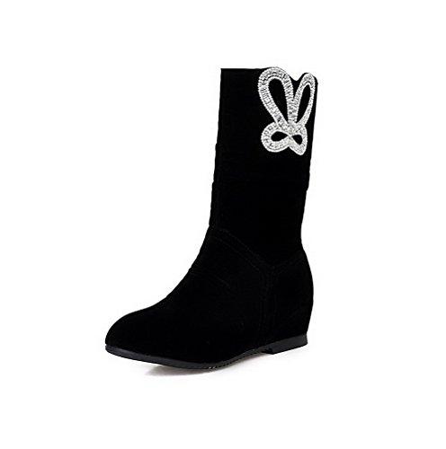 AgooLar Damen Blend-Materialien Ziehen auf Niedriger Absatz Mitte-Spitze Stiefel, Schwarz, 37