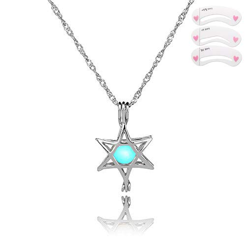 - Coobbar White Gold Hollow Pearl Bead Cage Pendant Necklace Glowing in Dark With 2 pieces chain 3 pieces Luminous stone for Women Girls (Star)