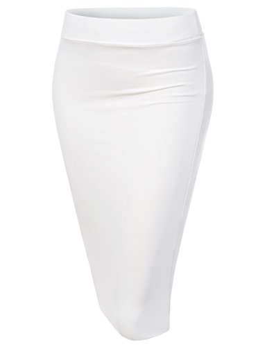 NEARKIN (NKNKW7S Beloved Womens Waistband Double Layered Elastic Pencil Skirt White US XL(Tag Size 2XL)