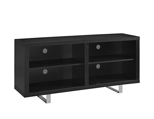 """WE Furniture 58"""" Simple Modern TV Console with Metal Legs - Black"""