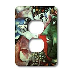 1911 Painting - 3dRose LLC lsp_130304_6 Chagalls 1911 The Village Painting Pdusjpg 2 Plug Outlet Cover