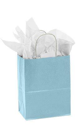 """Medium Powder Blue Paper Shopper Case of 25. 8"""" X 4 ½"""" X 10 ¼"""" (Cub). 70# Paper Weight. Case of 25."""