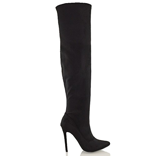 (ESSEX GLAM Womens Black Faux Suede Over The Knee Thigh High Stiletto Heel Stretch Boots 7 B(M) US)