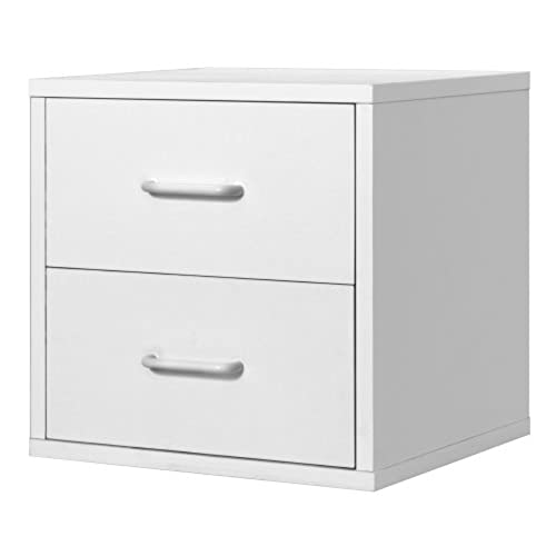 Foremost 327401 modular 2 drawer cube storage system white