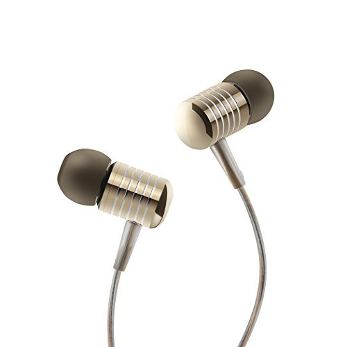 Headphones, HokoAcc In-Ear Earbuds Noise Isolation Headsets Heavy Bass Earphones with Microphone for iPhone Samsung iPad and Most Android Phones (Gold)