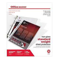 office-depot-top-loading-sheet-protectors-standard-weight-non-glare-box-of-100-498761