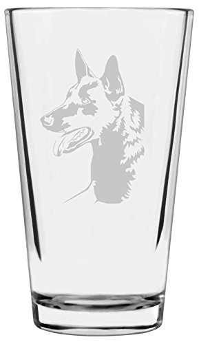Belgian Shepherd (Malinois) Dog Themed Etched All Purpose 16oz Libbey Pint Glass
