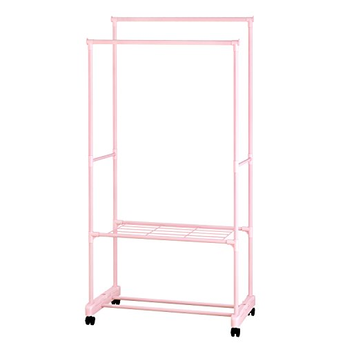 ALEKO SHE62PK Portable Garment Clothes Rack Shelves Organizer Wardrobe, 62 Inches Tall Pink