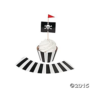 Pirate Party Cupcake Wrappers with Picks - Makes 50 Cupcakes