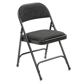 Steel Frame Folding Chair, Padded Fabric Seat And Back, Black   Lot Of 4