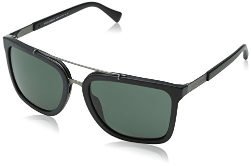 D&G Dolce & Gabbana Men's Logo Plaque Square Sunglasses, Matte Black & Grey Green, 57 - Dolce 2014 Gabbana Sunglasses And